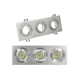 DOWNLIGHT RECTANGULAR 3 FOCOS ALUMINIO