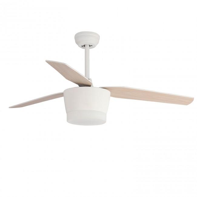 Ventilador LED 18W 3 palas madera reversibles haya y blanco con mando regulable en color